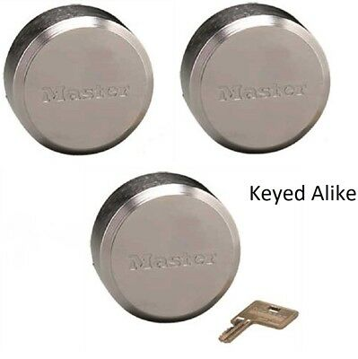Master Lock 6271ka Hidden Shackle Lot Of 3 Keyed Alike Reinforced Puck Locks