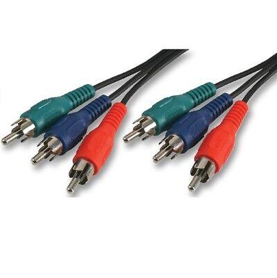 0.5m RGB Component Video Cable Triple Phono Lead 3 x RCA AV...