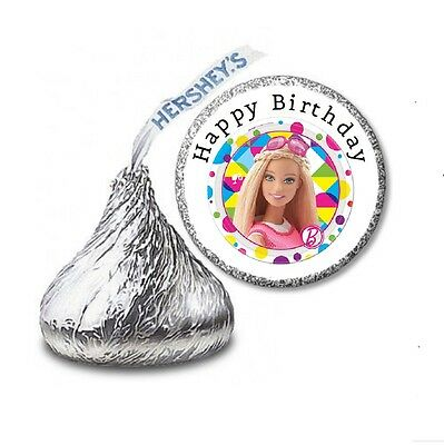 216 BARBIE HERSHEY'S KISS CANDY BIRTHDAY STICKER LABELS - Party Favors - Barbie Party Favors