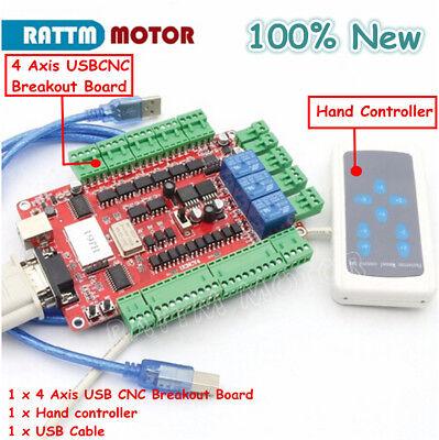 4 Axis Usbcnc Nema23 Stepper Motor Breakout Board Usb Controller W Hand Control