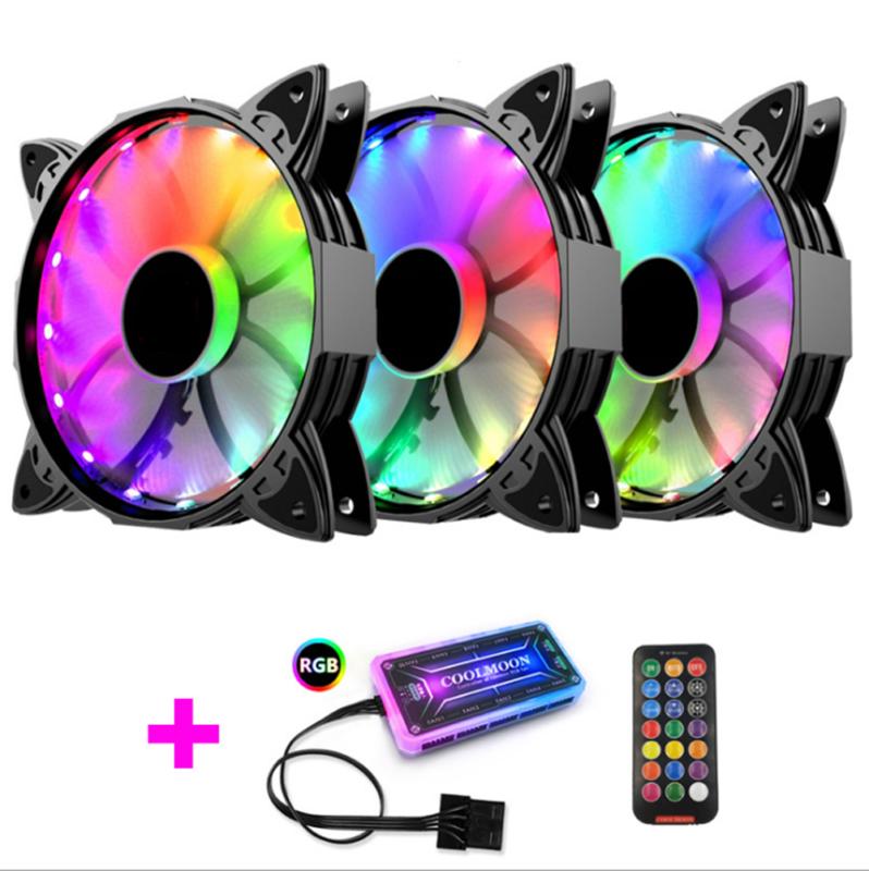 3Pcs LED Cooling Fan RGB 120mm 12V For Computer Case PC CPU