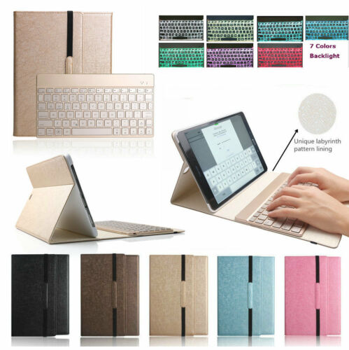 7 Color Backlit Bluetooth Keyboard Case Cover For Samsung...