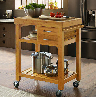 Rolling Bamboo Kitchen Island Cart Trolley, Cabinet w/ Towel Rack Drawer Shelves