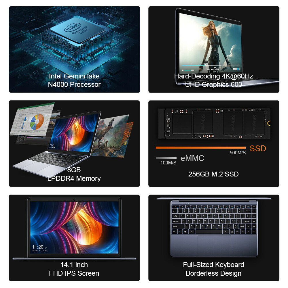 CHUWI HeroBook Pro 14.1 in Laptop Windows 10 Intel Dual Core 8+256G Notebook PC 2