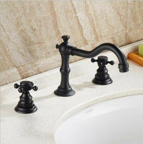 Widespread Bathroom Sink Faucet 3 Holes Two Handles Oil Rubbed Bronze 3