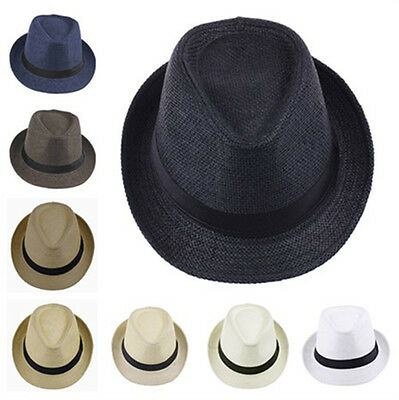 Men Women Boy Girl Kid Child Fedora Hat Trilby Cap Straw Jazz Sunhat Sunbonnet](Kid Fedora)