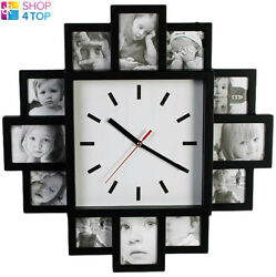 WALL CLOCK 12 PHOTO PICTURE FRAME BLACK LARGE MODERN HOME NOVELTY ORIGINAL GIFTS