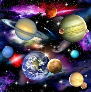 Space fabric ebay for Fabric planets solar system