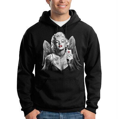 Marilyn Monroe Angel Wings Gangsta Tattoo Red Lips Hooded Sweatshirt Hoodie Angel Wings Hooded Sweatshirt
