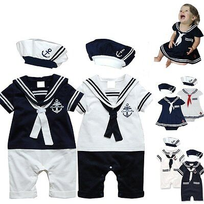 Sailor Boy Costume (Baby Boy Girl Sailor Marine Christmas Fancy Party Costume Outfit Cloth Dress)