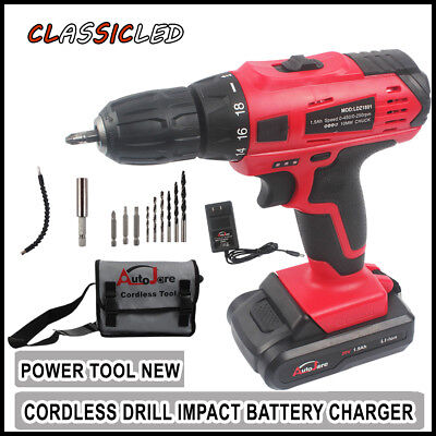 "20V 3/8"" LED Cordless Electric Power Drill Kit Household Driver + Li-Ion Battery"