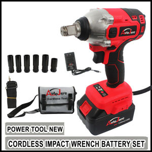 Impact Wrench Sockets Set 20v Battery Cordless 1 2 Rattle Gun Electric Brushless