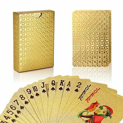 Plated Playing Card - Stylish 24K Gold Foil Plated Cover Poker 54 Playing Cards Table Games Party Fun