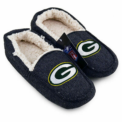 NFL Green Bay Packers Football Men's Soft Cotton Slipper Loafers - Various Sizes Green Bay Packers Mens Slipper