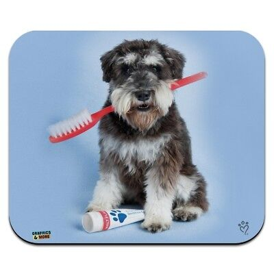 Schnauzer Puppy Dog with Toothbrush Dentist Low Profile Thin Mouse Pad Mousepad