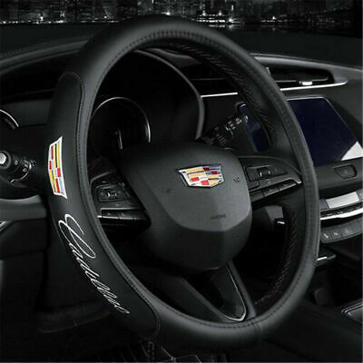 Brand New Cadillac Black PVC Leather Steering Wheel Cover 15'' Inches