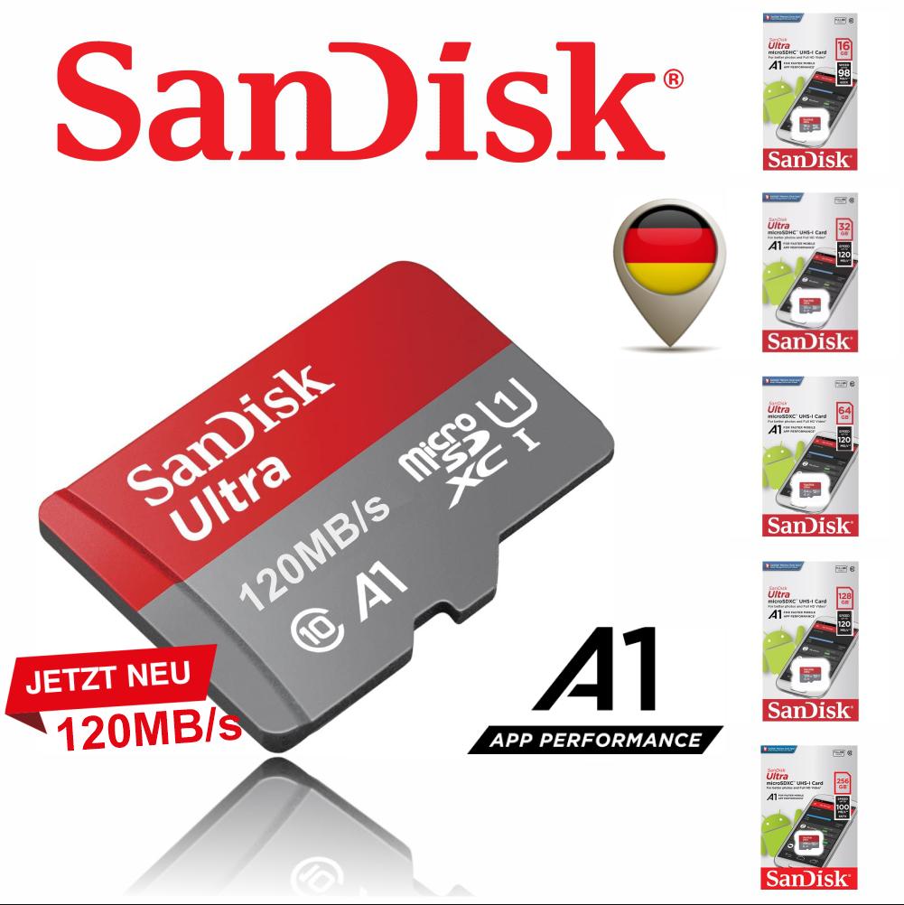 SanDisk ULTRA micro SD Speicherkarte 16GB 32GB 64GB 128GB  256GB 120MB/s A1 WOW