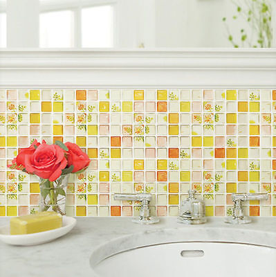 Home Bathroom Kitchen Wall Decor Sticker Backsplash Peel and Stick 2Sheet Yellow