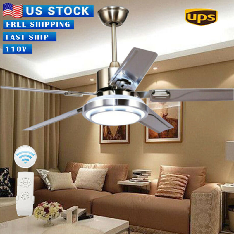 """52"""" Remote Control Ceiling Fan Lamp Light Stainless Steel Ch"""