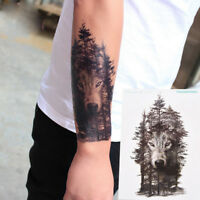 b0d48a69f6bf8 Waterproof Temporary Fake Tattoo Stickers Grey Forest Wolf Animals Large  DIY 2_7
