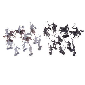 28pcs/set Knights Warrior Horses Medieval Soldiers Figures Mini Model Toys  VH