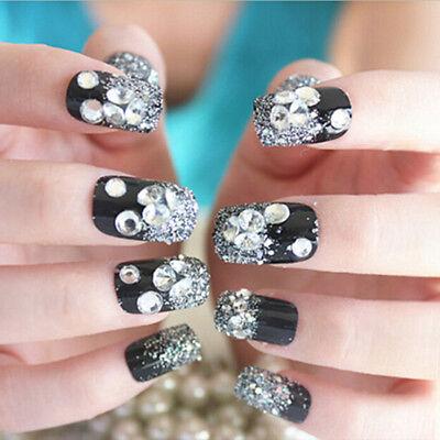 24 Stück schwarz Acryl gefälschte Fingernägel Full Cover - Schwarz Gefälschte Nägel