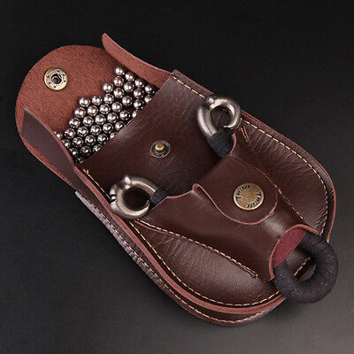 Hot Leather Case Waist Bag Pouch For Catapult Slingshot Steel Balls Ammo Game Qh