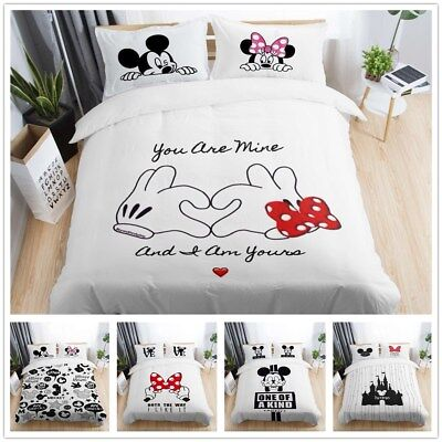 3D Disney Mickey Mouse Minnie Bow Bedding Set Duvet Cover Pillowcase Quilt Cover ()