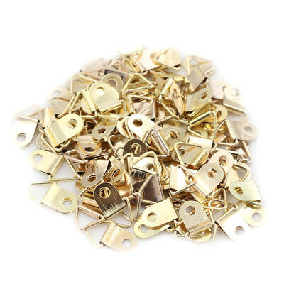 100pcs Mini Golden Triangle D-Ring Picture Photo Frame Hook Hanger 10x20mm new.