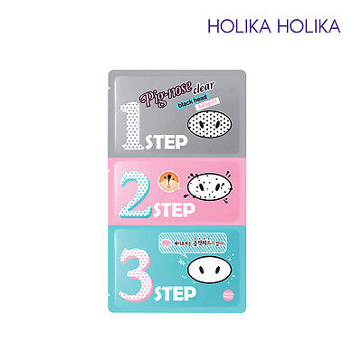 [HOLIKA HOLIKA] Pig Nose Clear Black Head 3 Step Kit 7gx(5PCS) Korean Cosmetic