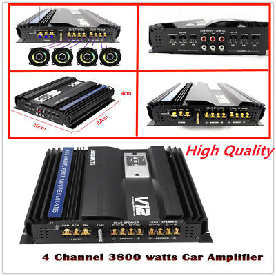3800W Car Audio Power Stereo Amplifier RMS 4 Channel V12 705 ,rms best for