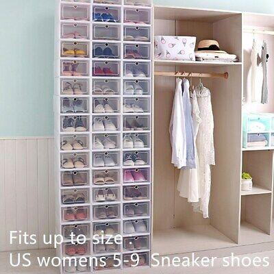 30Pcs Stackable Plastic Shoe Boxes Drawer Storage Cabinet Nonslip Organiser