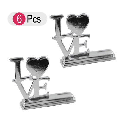 6pcs Place Card Holder Love Heart Shape Picture Stand Note Clip Wedding Party