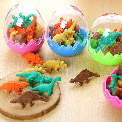 8x Funny Dinosaurs Egg Pencil Rubber Eraser Students Office Stationery Toys Cute