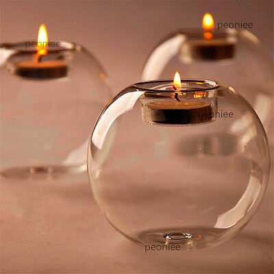 Crystal Glass Round Candle Tea Light Holder Candlestick Party Home Decor  ES