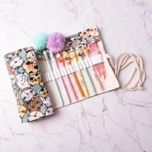 Cat Canvas Bag Holder Wrap Roll Up Stationery Pen Brushes Pencil Case Pooop
