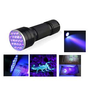 UV Ultra Violet 21 LED Flashlight Mini Blacklight Aluminum Torch Light Lamp YT