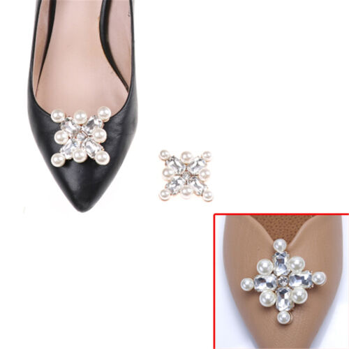 1PC Shoe Clips Faux Pearl Rhinestones Alloy Bridal Prom Shoes Buckle Decor_CH