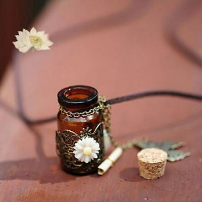Fairy Message in a Bottle Necklace Flower Vintage Style Pearl Beads Butterfly