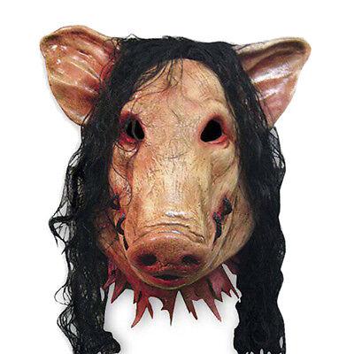 Halloween cosplay tier vorschl latex partei unheimlich schwein kopf maske & haar