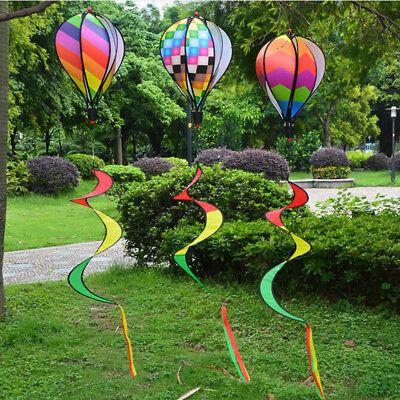 Hot Air Balloon Wind Spinner with Rainbow Stripe Garden Yard Outdoor Decor TH](Rainbow Wind Spinner)