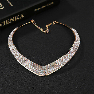 Women Fashion*Jewelry*Chain*Pendant Crystal Choker Chunky Statement Bib Necklace