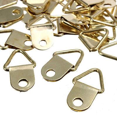 20X Goldene Messing Dreieck Bilderrahmen Wandhalterung Haken Aufhänger Ringe/_F~