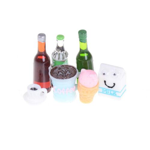 5PCS Mini Beer Drinks Milks Dollhouse Miniature Play Food for s Doll Toy T