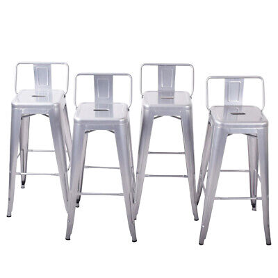 NEW 4PC Bar Stool Height Modern Chair Low-Back Footrest Indoor/Outdoor, 30-inch