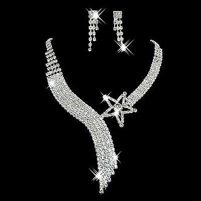 Prom Party Wedding Bridal Crystal Rhinestone Star Necklace Earring Set Best RS - $6.96