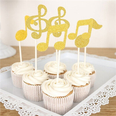 6 Pcs Cake Toppers Glitter Music Note Paper Banner Party Wedding Decor Fad (Glitter Music Note)