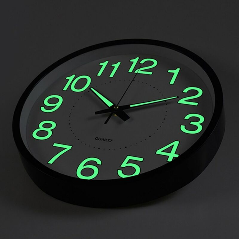12 inch Glow Dark Wall Clock Silent Quartz Luminous Wall Cla