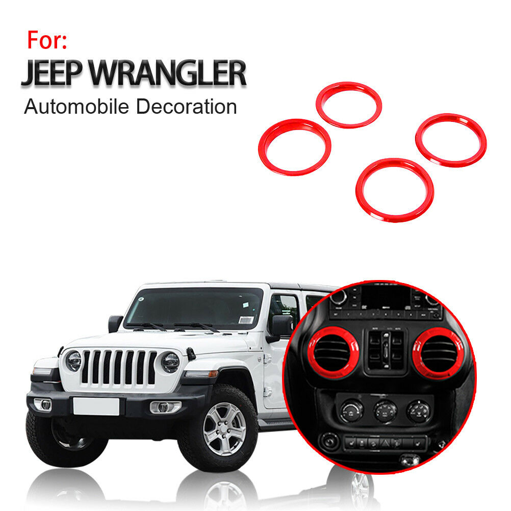 4PCS Dashboard AC Air Conditioning Vent Outlet Cover Trim Decoration Ring for 2018-2020 Jeep Wrangler JL JLU JT Red