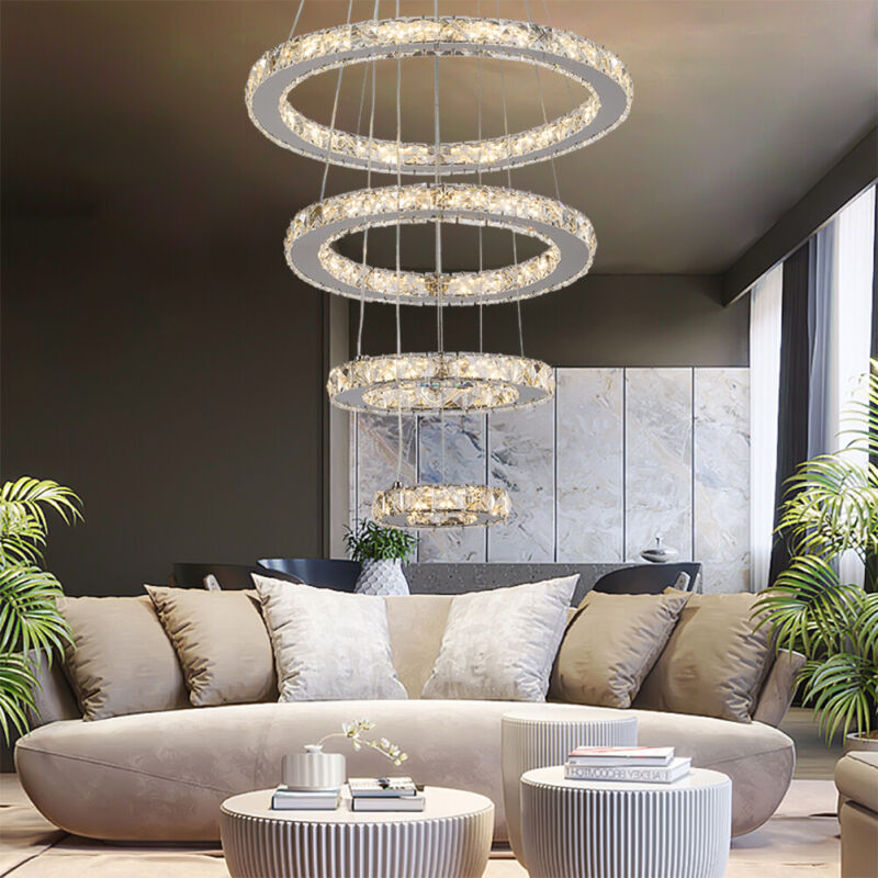 Modern Adjustable LED Chandeliers Round Ceiling Light Ring C
